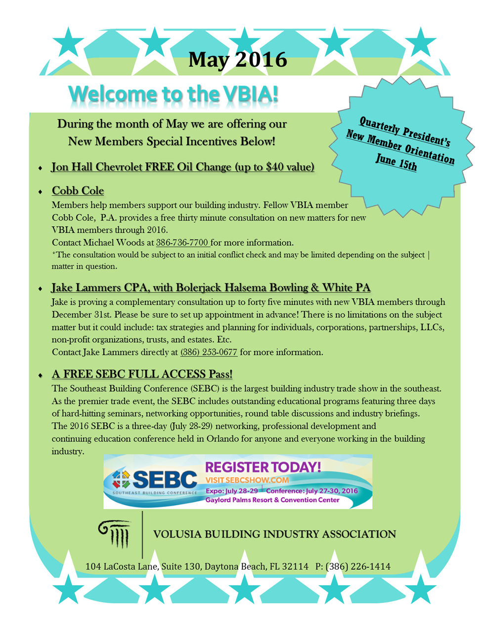 Volusia Building Industry Association - Newsletter May 2016